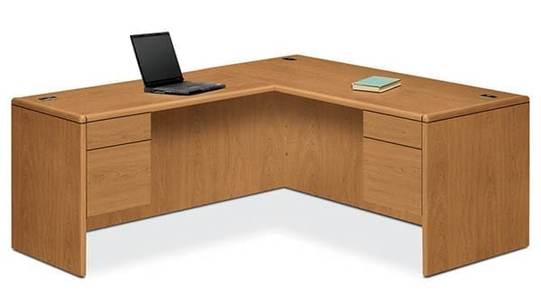 Shown in Harvest with right pedestal desk and left return