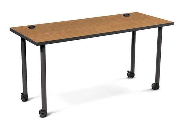 Shown with optional casters and grommets. Colors: Harvest laminate, Charcoal legs and edge