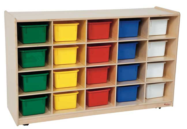 Wood Designs Cubby Storage Cabinet With 20 Assorted Color Trays U2013 School  And Office Direct