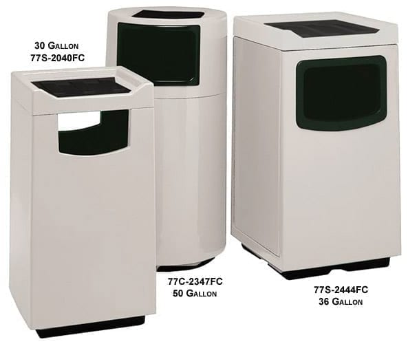 WITT 30 Gallon Square Fiberglass Food Court Series Trash Can