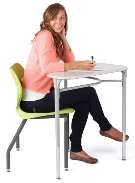 Shown in Lime with Charcoal legs, and the Smartlink student desk