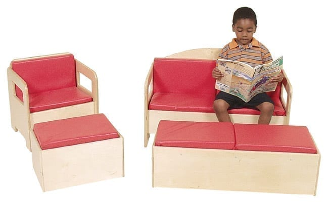 Chair on left with single bench (Sold Separately) Sofa on right with double bench (Sold Separately)