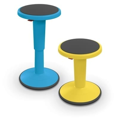 Grow Stool Side By Side tall blue short yellow